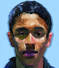 """From the 2011 """"Population"""" series by artist Ray Turner (b. 1958) {art male head double-vision purple-lip young man face portrait cropped painting #loveart} yayturner.us"""