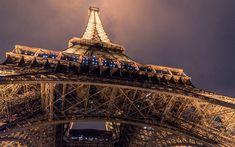 Download wallpapers Paris, Eiffel Tower, bottom view, night, lights, night sky, France, attractions, Paris landmarks