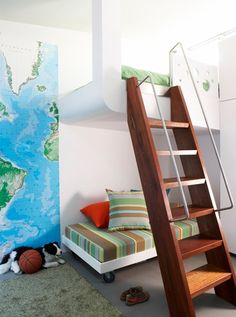 Sarah Davidson Interior Design: Fun boy's bedroom with world map wallpaper, modern twin bunk beds, ladder and green & . Modern Boys Rooms, Cool Kids Bedrooms, Awesome Bedrooms, Kids Rooms, Bunk Bed Ladder, Bunk Beds Built In, Man Room, Girl Room, Cool Boys Room