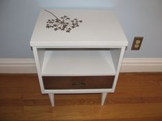 Mid-Century Modern Nightstand paint idea- I don't like the flower but the idea might work..