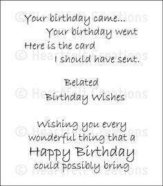 Belated Birthday Wishes Cling Stamp Set: click to enlarge