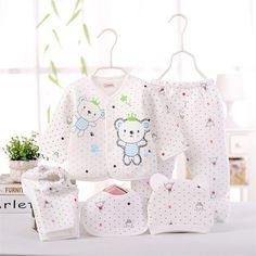 Conjuntinho Bebê Recém-nascido (5 pçs set) 0-6 M - unissex 100% Algodão.  Padrão Ursinho dos desenhos animados do bebê Rosa 1372e347bbf