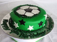 Really like this one but would use team colors and maybe put kids names on the stars or at least jersey numbers Soccer Birthday Cakes, Soccer Cake, Soccer Party, Sweet Box, Crazy Cakes, Cupcake Cakes, Cupcakes, Catering, Party Themes