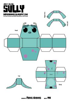 Blog_Paper_Toy_papertoys_Sully_Mike_Paper_Minions_Sully_template_preview