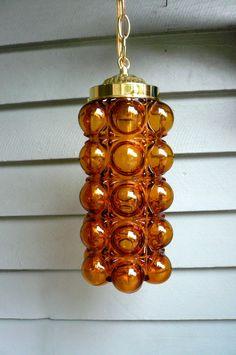 SALE Vintage Mid Century Amber Pendant Lamp by LunaParkVintage, $99.00