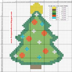 Christmas tree cross stitch pattern - Arbol navideño punto de cruz