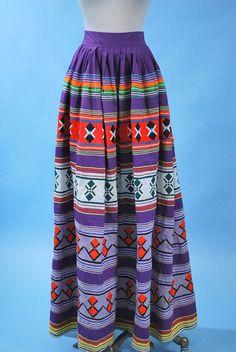 """mid-century seminole pieced skirt w/rick-rack; large scale patterns"" honey thats modern day."