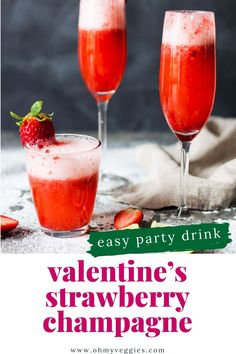 Need the perfect drink for Valentine's Day brunch? Serve up these easy and delicious Strawberry Champagne Cocktails. They're simple, tasty, and beautiful too! #cocktails #chamapgne #valentinesday
