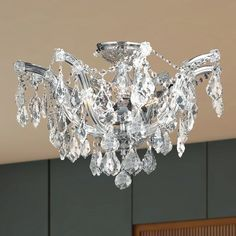 Shop for Metro Candelabra Chrome Finish Crystal Shabby Chic Luxe Ceiling Light - Large Semi-Flush Mount. Get free delivery On EVERYTHING* Overstock - Your Online Ceiling Lighting Store! Crystal Ceiling Light, Ceiling Lights, Cheap Chandelier, Chandeliers, Classic Lighting, Flush Mount Lighting, Foyer Lighting, Drum Shade, Chrome Finish