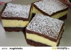 Jednoduchý moučník s pudinkovo-smetanovým krémem recept - TopRecepty.cz Dessert Bars, Dessert Recipes, Desserts, Fondant, Muffin, Food And Drink, Sweets, Cupcakes, Drinks