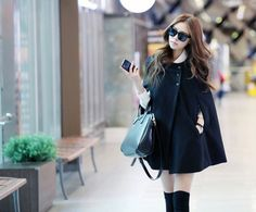 Trendy Black Cape Coat