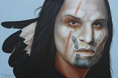 Spirit of the Wind, oil on linen, 20 x 30      This mysterious looking Plains Indian has his face painted white with a red stripe. The Black Hand print indicates that he performed an act of bravery. He wears eagle feathers in his hair.    http://khendersonart2.blogspot.com