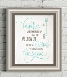 Families are like branches on a tree, Boho art print, Printable wall art, Family quote print, diy decor, Aqua and brown, arrow print