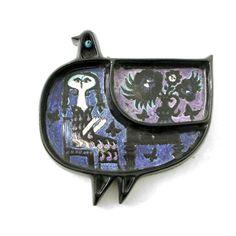 Ceramic Plates, Ceramic Pottery, Pottery Art, Mid Century Art, Mid Century Design, Scandi Chic, Nordic Art, Wooden Bird, Vintage Birds