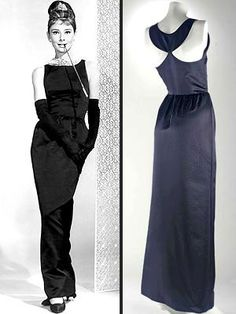 Simple black satin evening gown by Givenchy, Italian, 1961. This gown, worn by Audrey Hepburn as Holly Golightly in 'Breakfast at Tiffany's' (1961), has been named the Greatest Female Screen Outfit of All Time. It was sold at auction in 2006 for £ 467,200 ($ 923,187).