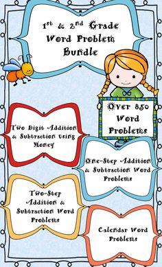 1st & 2nd Grade Word Problem Bundle -One Step Addition & Subtraction -Two Step Addition & Subtraction -Addition & Subtraction using Money -Calendar Skills