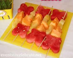 Butterfly Themed Party - fruit kabobs - Butterfly shaped watermelon- eventstocelebrate.net
