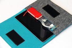 Gray & Turquoise iPad case, iPad pro felt case, iPad Air Sleeve, iPad Pro carrying case - Weird.Old.Snail