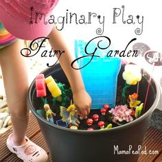 imaginary play outdoor fairy garden    *** I wonder if we can put this outside for the kids that just want to play around in the dirt all the time...