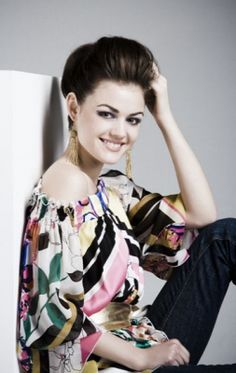 Lucy Hale..love her hair and blouse. :)