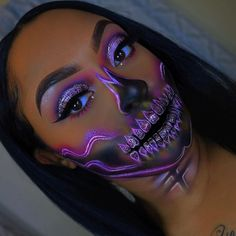 "Halloween Makeup Ideas @sydneylilian ・・・ Glam Neon Half Skull, of course I had to add glitter! I just doubled the outline and added my own flavaa to it My FIRST EVER Halloween look, it was fun to do! I just used things that I already had laying around, I hope you guys like it Inspired by @jamescharles @elfcosmetics brows @tartecosmetics shape tape ""tan sand"" All colors are from @morphebrushes 35B ( eyes&face ) I used @wetnwildbe"