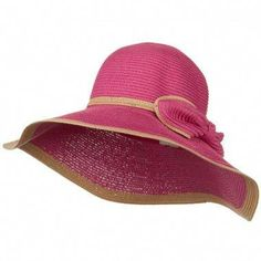 56a27c871c68c Two Tone Paper Straw Hat with Bow - Fuchsia Pink