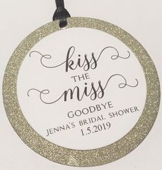 This Kiss The Miss Goodbye Bridal Shower Favor Tag, Bachelorette Favors, Thank You Tags for Bridal Shower, Custom Favor Tags is just one of the custom, handmade pieces you'll find in our wedding favors shops. Mini Wine Bottles, Ivory Lace Wedding Dress, Bachelorette Favors, Wine Tags, Wedding Favor Tags, Personalized Favors, Thank You Tags, Bridal Shower Favors, Ribbon Colors