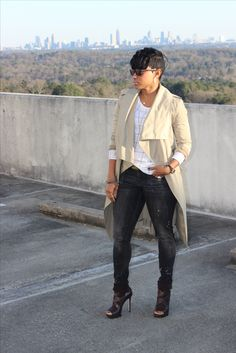 Trench + Tee + Jeans + Booties