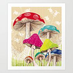 Magical Mushrooms Canvas Print by Amanda Dilworth Illustrations, Illustration Art, Zantangle Art, Mushroom Art, Mushroom Drawing, Canvas Prints, Art Prints, Psychedelic Art, Alice In Wonderland