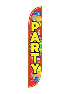 LookOurWay Party with Balloons Feather Flag 12Feet -- See this great product.(This is an Amazon affiliate link and I receive a commission for the sales)
