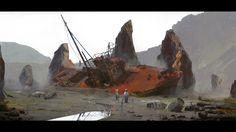 Landscape. stranded ship. wanderers. children. post apocalypse, desert.