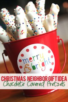 #14 Christmas Neighbor Gift Idea – chocolate covered pretzels | How Does She...