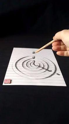 3d Pencil Drawings, 3d Art Drawing, Art Drawings Sketches Simple, Realistic Drawings, Illusion Drawings, Illusion Art, 3d Painting, Painting Lessons, Pattern Art
