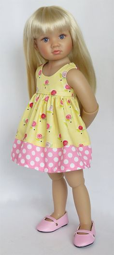 Yellow and Pink Floral/Dot Dress.  Fits Kidz 'n' by SillyMonkeyInc