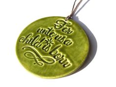 Handmade Ceramic Christmas Ornament, Light Emerald Green Glazed Round Pottery Decoration, Bible Verse for Birth of Christ, Religious Gift