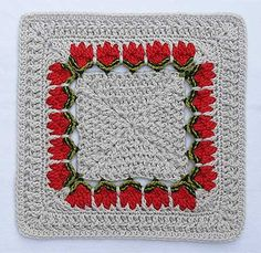 Crochet square with tulips! Different