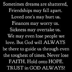 Never lose your faith!!