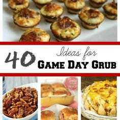 40 Ideas for Game Day Grub via Chocolate, Chocolate and More, tailgating recipes, game day recipes Finger Food Appetizers, Appetizers For Party, Appetizer Recipes, Snack Recipes, Cooking Recipes, Game Day Snacks, Game Day Food, Party Snacks, Tailgating Recipes