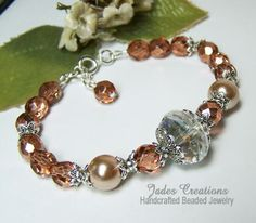 Apricot, Pearl  Crystal Beaded Bracelet  Idea for large crystal focal bead left over from Bonnie's wedding