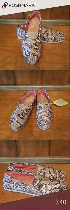 TOMS Canvas Snake Print Slip-On NEW brown and beige TOMS canvas slip-on. Gorgeous snakeskin print. Sz 9. TOMS Shoes Flats & Loafers