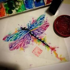 watercolor dragonfly tattoo - Google Search