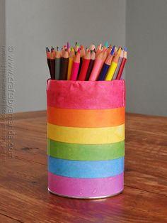 Rainbow Pencil Holder Can @Amanda Formaro Crafts by Amanda