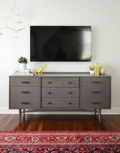 How-To-Hide-TV-Wires-After-No-Cords -- dresser paint color: Folkstone-by-Sherwin Williams