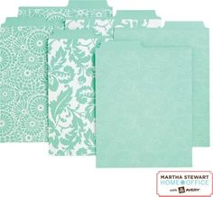 Martha Stewart Home Office™ with Avery™ Vertical File Folders Assorted Blue Patterns, 2 Tabs @ Staples.