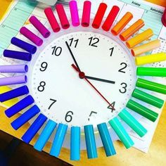 20 Ways to Brighten Up Your Classroom With a Vibrant Rainbow Theme : Rainbow clock using markers tops Classroom Clock, Art Classroom Decor, Classroom Design, Classroom Displays, Classroom Ideas, Toddler Classroom Decorations, Classroom Curtains, Elementary Classroom Themes, Elementary Teaching