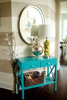 House of Turquoise: Katelyn James Photography (Entry/Hall Inspiration) House Of Turquoise, Turquoise Table, Bleu Turquoise, Teal, Turquoise Office, Turquoise Accents, Aqua Color, Striped Walls, Cool Ideas