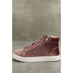 Madden Girl Eppic Blush Velvet High-Top Sneakers ($49) ❤ liked on Polyvore featuring shoes, sneakers, pink, hi tops, round toe sneakers, zip sneakers, madden girl shoes and zipper sneakers