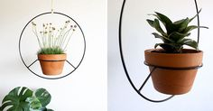 Inspired by vintage hanging plant holders, Angie Johnson has created this modern black hanging planters.