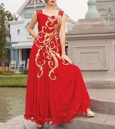Red Embroidered Soft Net Gown