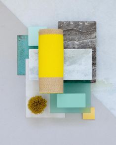 "510 Likes, 4 Comments - Studio David Thulstrup (@studiodavidthulstrup) on Instagram: ""Material mood for a retail concept ~ Bright Yellow & Mint Corian #travertine #onyx #copper…"""